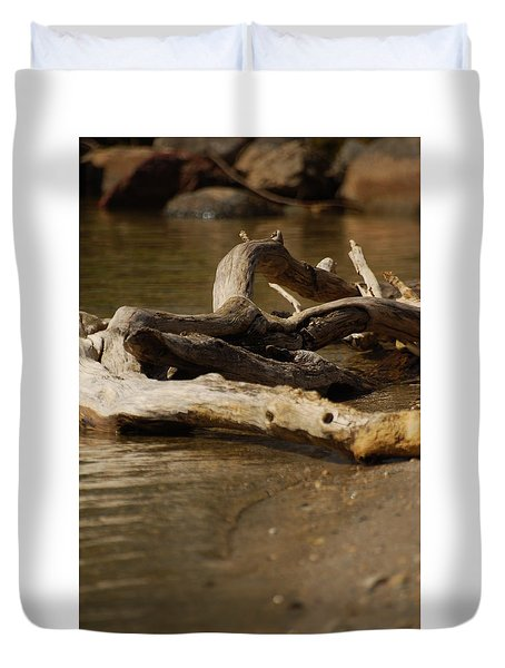 Duvet Cover featuring the photograph Driftwood by Ramona Whiteaker