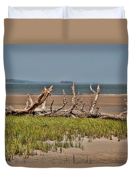 Duvet Cover featuring the photograph Driftwood With Baracles by John Black