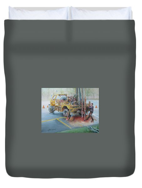 Duvet Cover featuring the painting Drill,drill,drill by Oz Freedgood