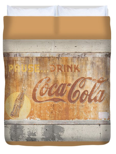 Duvet Cover featuring the photograph Drink Coca Cola by Mark Greenberg