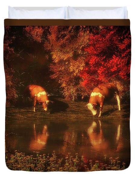 Drinking Cows In The Forest Duvet Cover