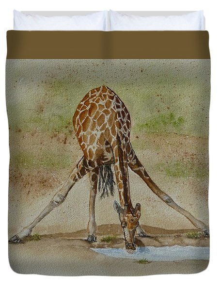 Drinking Giraffe Duvet Cover