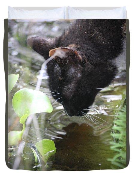 Drinking Kitty Duvet Cover