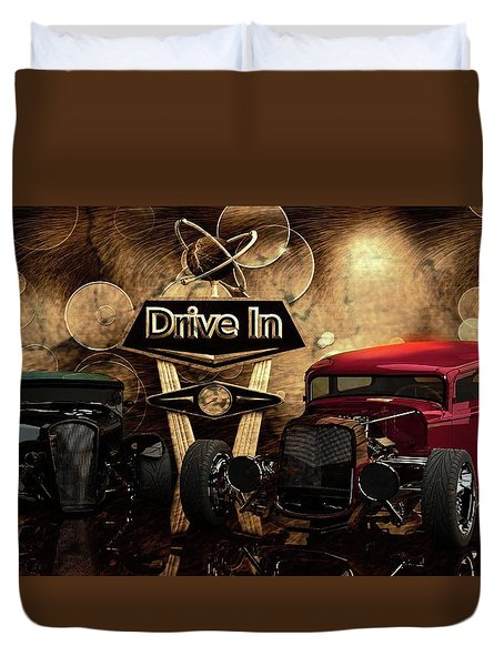 Duvet Cover featuring the photograph  Drive In by Louis Ferreira
