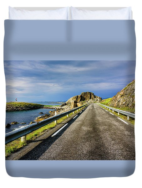 Duvet Cover featuring the photograph Driving Along The Norwegian Sea by Dmytro Korol