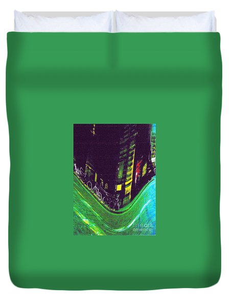 Driving By - Night Time In Bologna Duvet Cover
