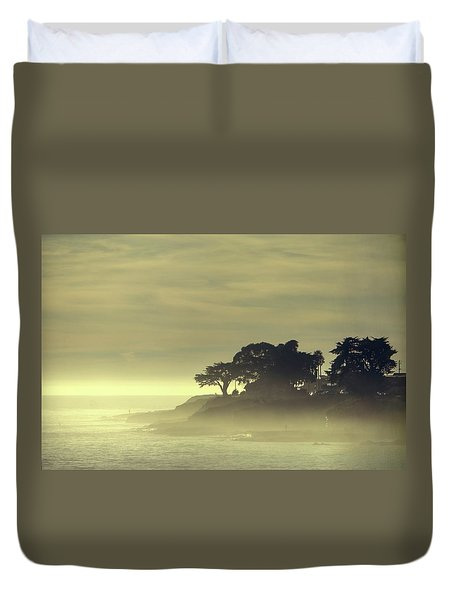Duvet Cover featuring the photograph Driving Into The Settling Sun by Quality HDR Photography