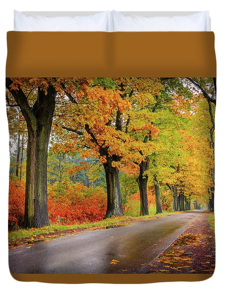 Duvet Cover featuring the photograph Driving On The Autumn Roads by Dmytro Korol