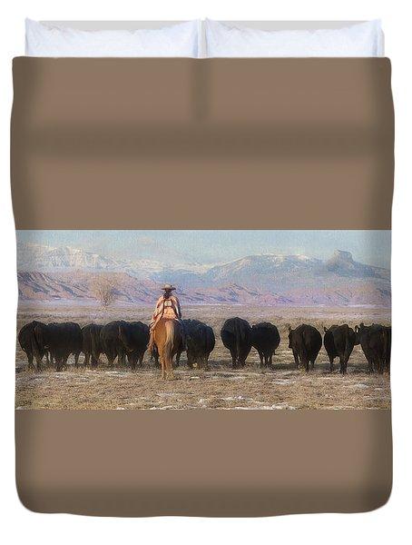 Driving The Herd Duvet Cover