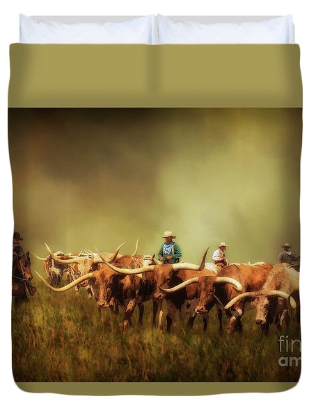 Driving The Herd Duvet Cover by Priscilla Burgers