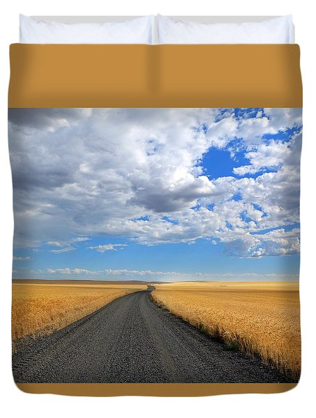 Driving Through The Wheat Fields Duvet Cover