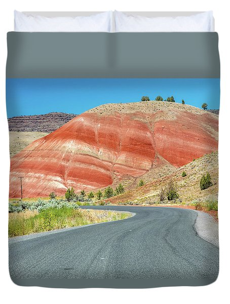 Duvet Cover featuring the photograph Driving To Painted Hills by Pierre Leclerc Photography