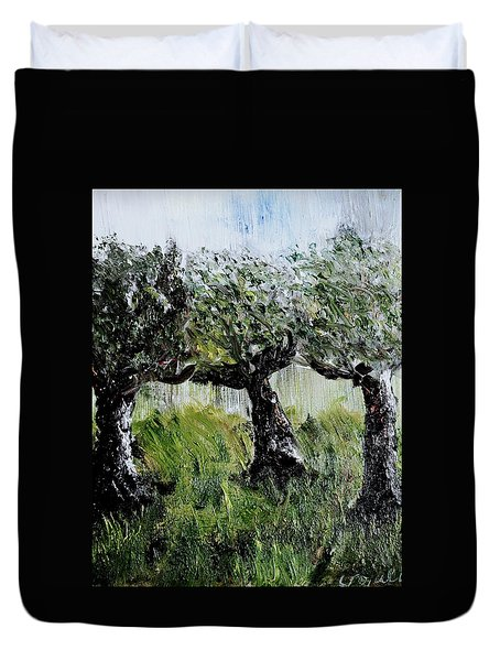 Duvet Cover featuring the painting Drizzle by Evelina Popilian