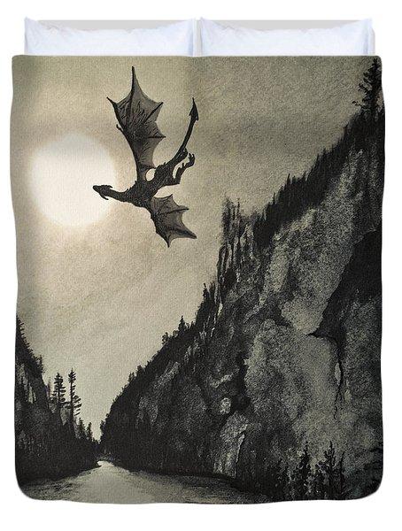 Duvet Cover featuring the painting Drogon's Lair by Suzette Kallen
