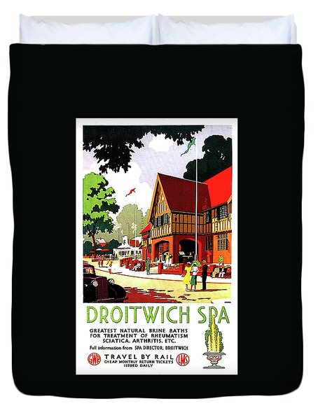 Droitwich Spa, England, Railway Poster Duvet Cover