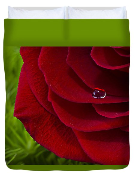 Drop On A Rose Duvet Cover by Marlo Horne