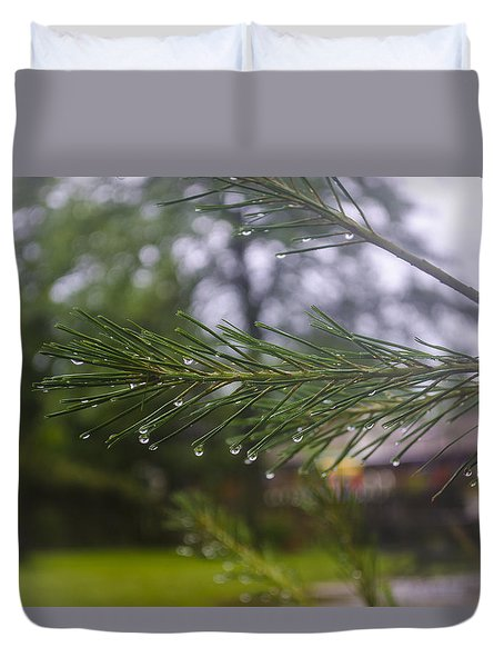 Duvet Cover featuring the photograph Droplets On Pine Branch by Deborah Smolinske