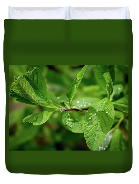 Droplets On Spring Leaves Duvet Cover