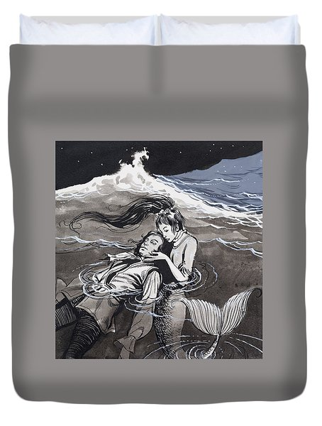 Drowned Man Being Assisted By A Mermaid Duvet Cover