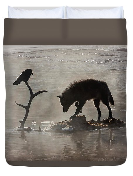 Druid Wolf And Raven Silhouette Duvet Cover