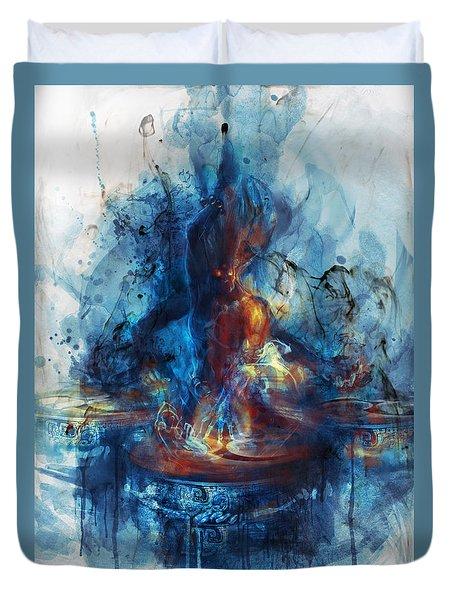 Duvet Cover featuring the digital art Drum by Te Hu