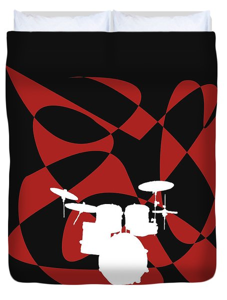 Drums In Black Strife Duvet Cover