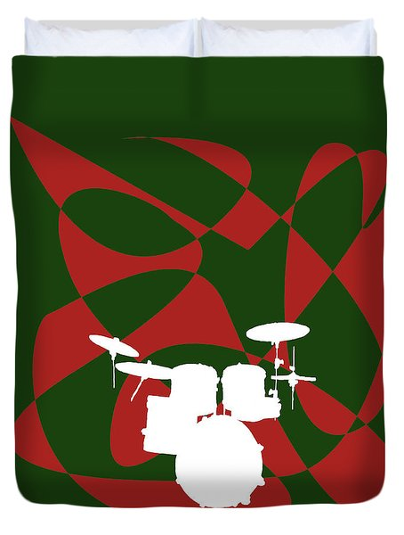 Drums In Green Strife Duvet Cover