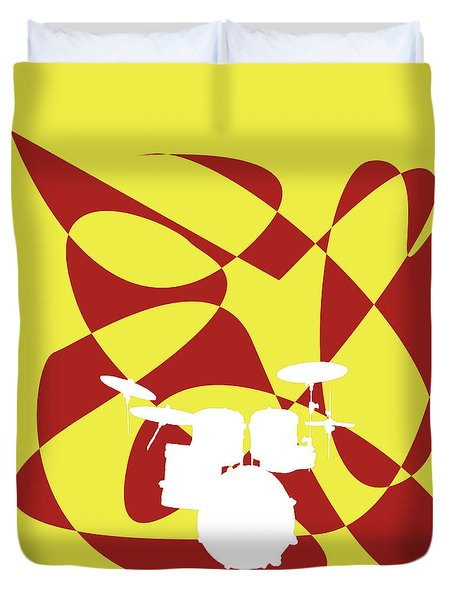 Drums In Yellow Strife Duvet Cover