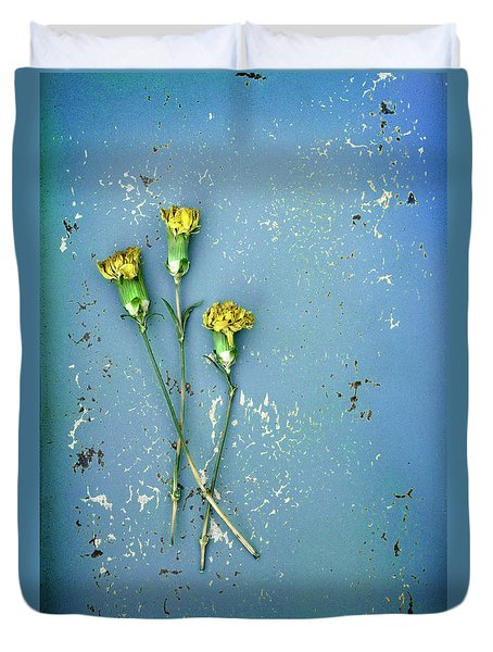 Duvet Cover featuring the photograph Dry Flowers On Blue by Jill Battaglia