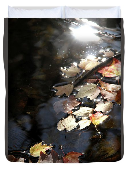 Dry Leaves Floating On The Surface Of A Stream Duvet Cover