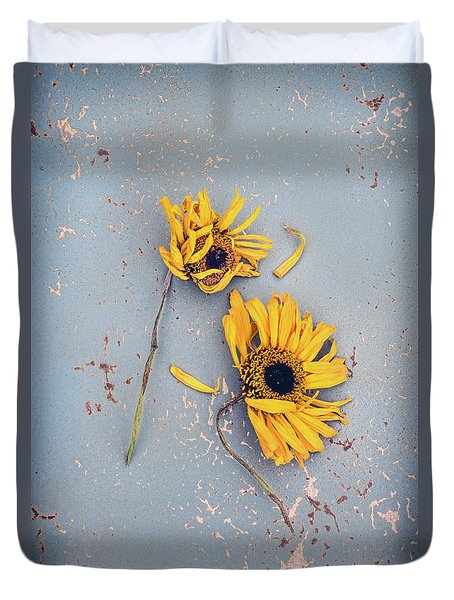 Duvet Cover featuring the photograph Dry Sunflowers On Blue by Jill Battaglia