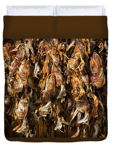 Drying Fish Heads - Iceland Duvet Cover