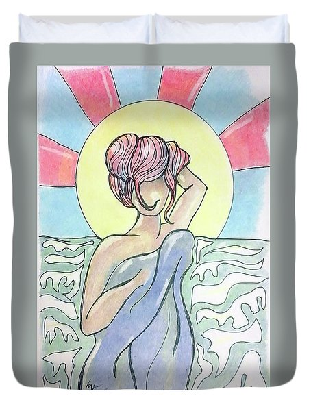 Drying Off From A Swim Duvet Cover by Loretta Nash