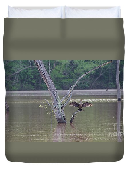 Duvet Cover featuring the photograph Drying Off In The Early Morning Sun by Donna Brown