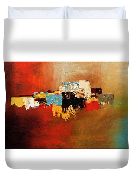 Duvet Cover featuring the painting Du Soleil by Carmen Guedez