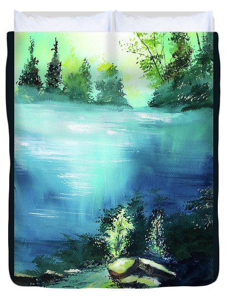 Duvet Cover featuring the painting Duality by Anil Nene