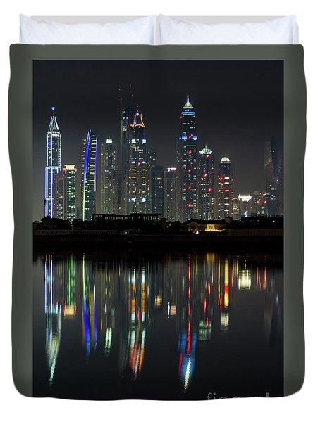 Dubai City Skyline Nighttime  Duvet Cover