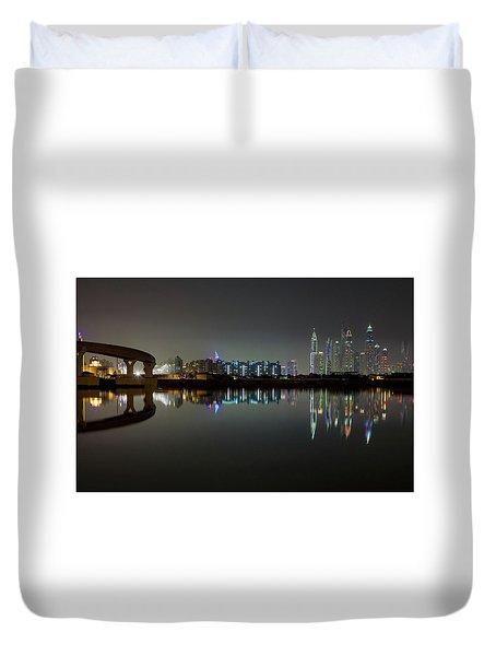 Dubai City Skyline Night Time Reflection Duvet Cover