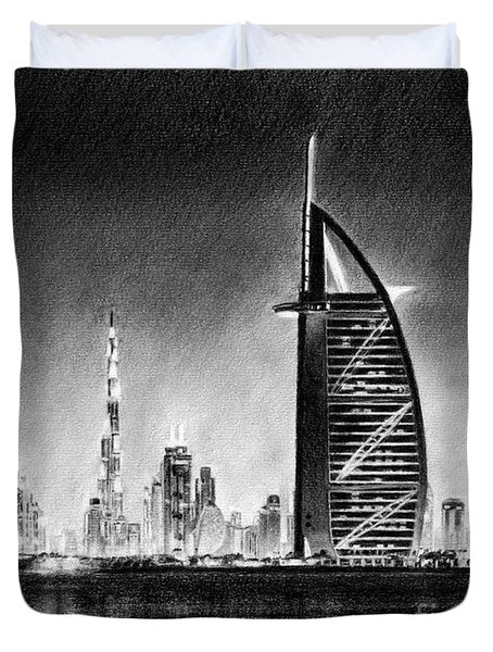 Dubai Cityscape Drawing Duvet Cover