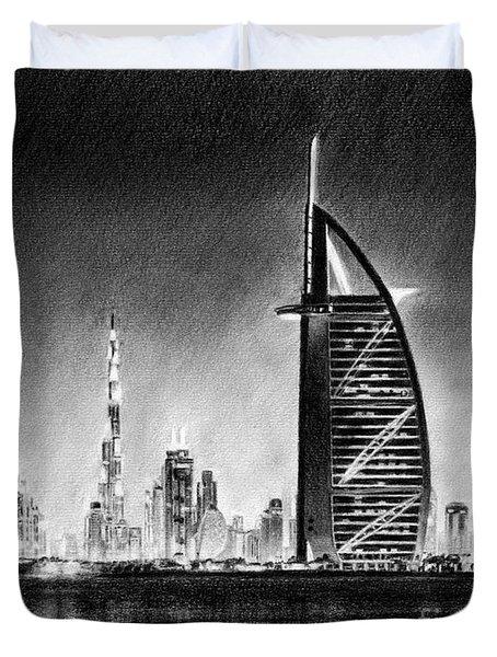 Dubai Cityscape Drawing Duvet Cover