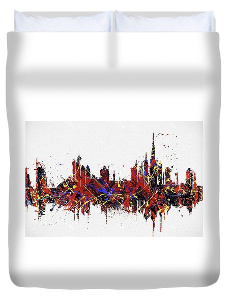Duvet Cover featuring the painting Dubai Colorful Skyline by Dan Sproul