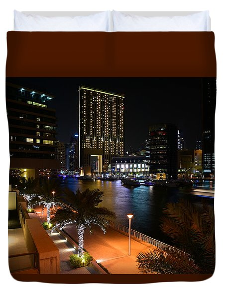 Dubai Marina Lights Duvet Cover
