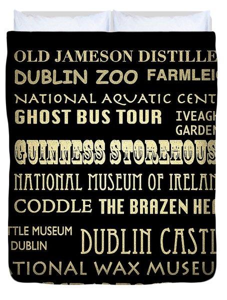 Dublin Ireland Famous Landmarks Duvet Cover