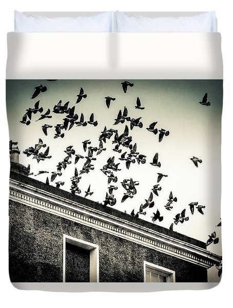 Duvet Cover featuring the photograph Flight Over Oscar Wilde's Hood, Dublin by Jennifer Wright