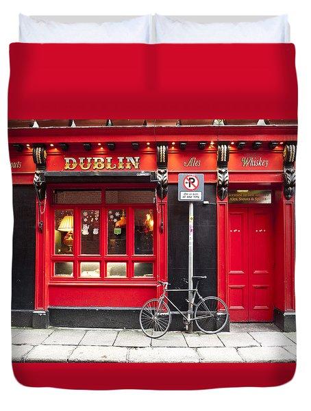 Dublin Red Pub Duvet Cover by Rae Tucker