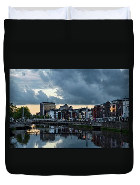 Dublin Sky At Sunset Duvet Cover