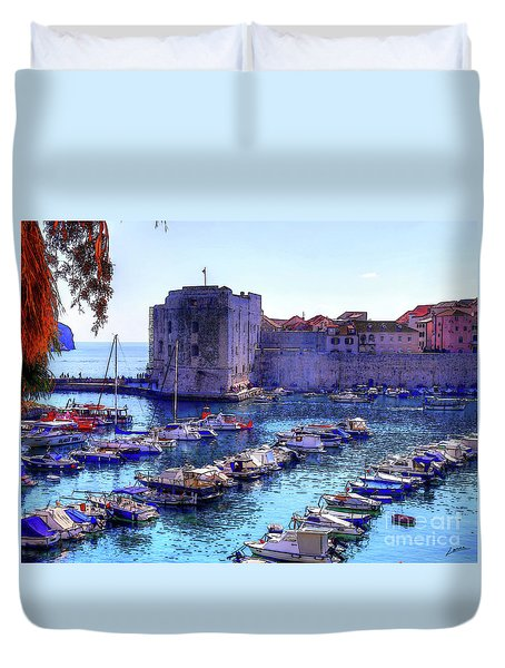 Dubrovnik Harbour Duvet Cover
