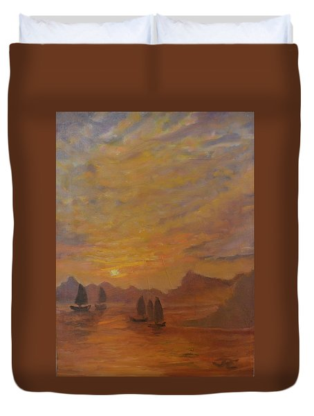 Duvet Cover featuring the painting Dubrovnik by Julie Todd-Cundiff