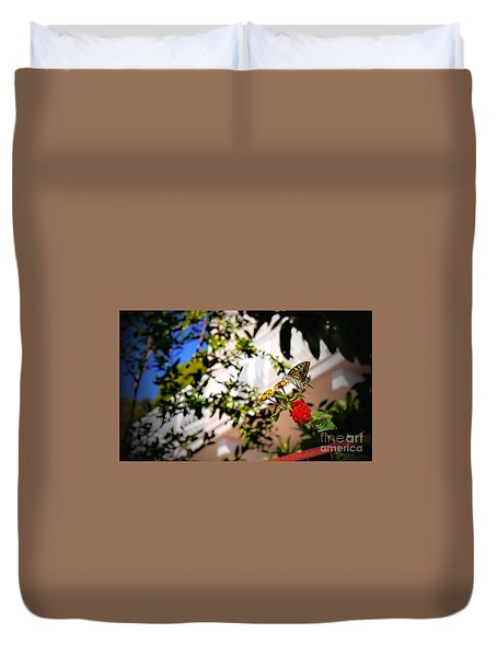 Duvet Cover featuring the photograph Dubrovniks Butterfly by Lance Sheridan-Peel