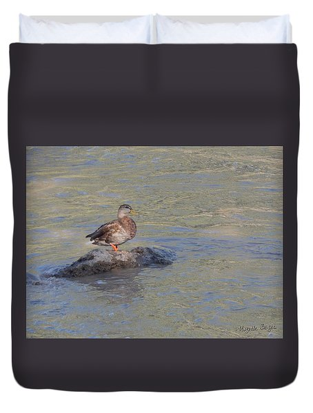 Duck Alone On The Rock Duvet Cover